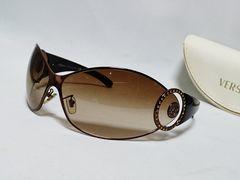 正規レア VERSACEヴェルサーチ メデューサメタルサングラス ブロンズゴールド×石 兼用