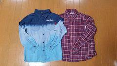デニムシャツミキハウスチェックシャツ2枚セット140
