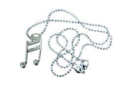ラインストーン 十六部音符 ネックレス シルバー