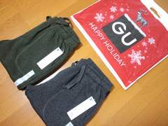 新品タグ付★GU/ジーユー★ニットフリースパンツ色違い2本セット★Mサイズ