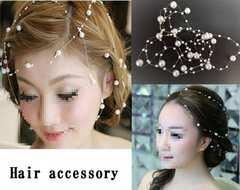 パールヘアアクセサリー2個セット!結婚式パーティ 髪飾り