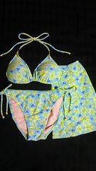 M・Sレトロフラワー花柄&ビーズ付ホルターリボン三角ビキニ水着スリットスカート3点セット