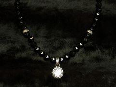 高級天然石!!大粒CZダイヤ×ブラックスピネルスターカット数珠ネックレス