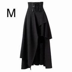 新品☆編み上げデザイン♪マキシ丈スカート ブラック M