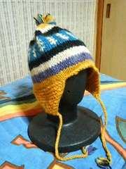 キッズハンドメイド ボンボン毛糸 帽子