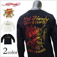 Ed Hardy グラデ刺繍ロンT 黒 XL[73kh03]