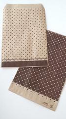 R85サイズ平袋★ピンドット茶紙袋☆20枚