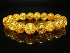 高級感溢れるパワーストーン シトリンクラックブレスレット 10ミリ数珠