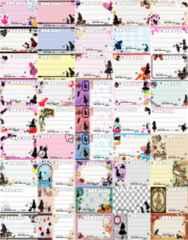 (45)◎F-アリス.ウサギ.ネコなど◎種類豊富★宛名シールセット*45種45枚♪