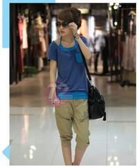 728-908018大きいサイズ☆重ね着風Tシャツ☆3L/ブルー