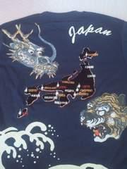 新品[Lap wing]日本地図に龍虎 半袖Tシャツ スカジャン好きにも