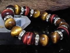 レッドタイガーアイ14ミリタイガーアイ12ミリ金ロンデル数珠