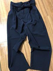 ☆新品☆UNIQLOサラサラ生地紐ベルト付きゆったりパンツ紺XL5