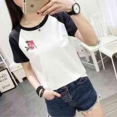 《新品》デザイン Tシャツ サイズL 花柄ワンポイント
