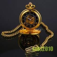 手巻き式★懐中時計/金色メンズ機械時計・スケルトン/127