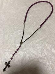 未使用BERADIANCE十字架ロングネックレス紫パープルアンティーク