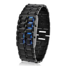 ブレス型LED腕時計ガンメタ★メンズ腕時計★ブラック