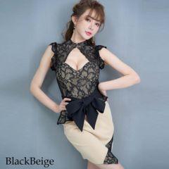 胸元セクシー リボンつきフリルレースミニドレス チャムドレス