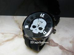 新品☆ジルコニア 黒 ラバー スカル腕時計/ハイドロゲン好きに