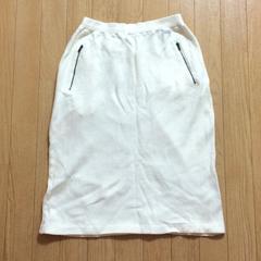 スカート ホワイト 白 コットン 綿 ジッパーポケット エレガント