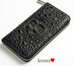 送料無料ブラック黒ワニ革クロコダイル高級フェイクレザー長財布