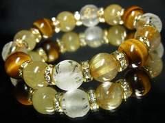 お守りブレスレット!!仏様彫梵字×タイガーアイ×タイチンルチル数珠