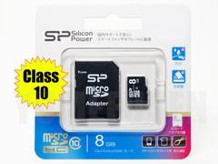 国内正規品 シリコンパワー 8GB Class10 microSDHC マイクロSD SDアダ 防水