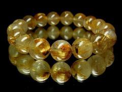 【納得の価格】最高級ゴールドタイチンルチル12ミリ数珠ブレス