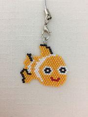 デリカビーズ☆ハンドメイド☆ストラップ☆お魚☆オレンジ☆