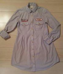 ●OXFORD●インディゴ パッチワーク ワンピシャツ/size2