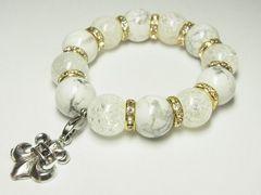 フレアクロスチャーム付◆ホワイトターコイズ×クラッククリスタル数珠ブレスレット