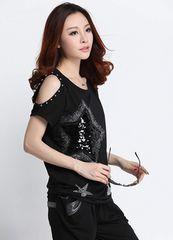 キラキラスター!!半袖スパンコールTシャツ(M寸・黒)