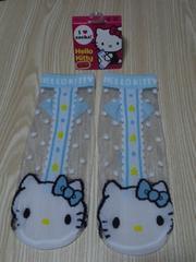 新品 Hello Kitty夏用スケルトンソックス(23〜24�p)水色