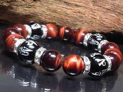 銀彫六字真言梵字オニキスレッドタイガーアイ数珠