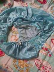 ツルツル花刺繍可愛い系 2L ブルー