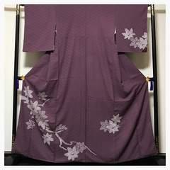 上質 正絹 訪問着 部分 絞り 楓柄 紋無し 袷 中古品
