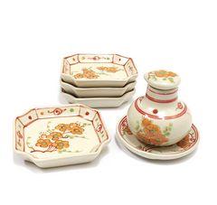 ベトナム陶器 醤油さし&皿4枚セット キッチンインテリア雑貨