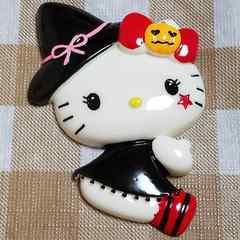 BIG パーツ ☆ ハロウィーン ( 黒 ) キティ ☆ 約 7.5 cm