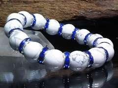 ハウライト12ミリ§ブルーロンデル数珠