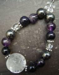 龍彫水晶xアメジストx紫金石xヘマタイトストラップ