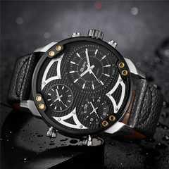 新作oulm正規腕時計◆BIGフェイスデュアルタイム◆DIESEL系◆