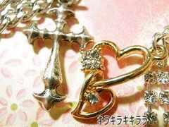 愛*LOVEクロス&ゴールドハートペアストラップ