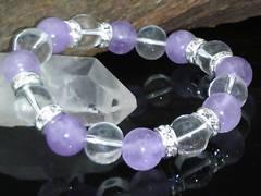ラベンダーミルキーアメジストx水晶10ミリ数珠