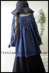 新品*袖刺繍/オフショルデニムプルオーバー*大きいサイズ*4L