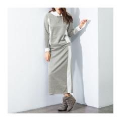 新品大サイズライン使い裏毛セットアップ(パーカ+ロングスカート)グレー6L