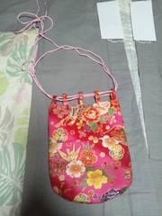 ☆新品赤ピンク×牡丹扇子御所車金折鶴和柄信玄巾着袋リバーシブル