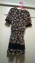 シフォンパフスリーブ半袖ワンピース花柄ドレスM ドレス黒ピンク