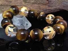 金四神獣水晶タイガーアイ14ミリ数珠