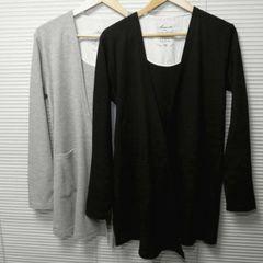 ワッフルロング丈ドレープカーディガン/BLACK/L
