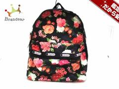レスポートサック リュックサック 黒×マルチ 花柄 LESPORTSAC